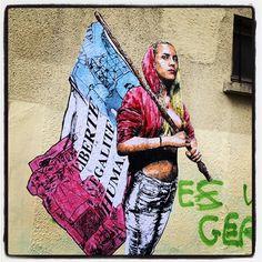 Liberté - Égalité - Humanité  Je ne sais pas qui a fait ça mais ça claque... Photo : Lionel Belluteau Plus de photos sur http://ift.tt/YMhG58  #liberte #egalite #humanite #paris #unoeilquitraine #affiche #art #lionelbelluteau #comlage #pasted_paper @unoeilquitraine
