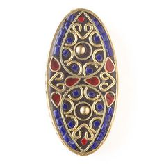 Tibetan 27x55mm Brass Oval Bead with Hearts, Red Coral Teardrop, and Lapis Square Inlay