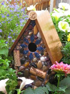 Outdoor Birdhouse Garden Art Mosaic Stone and Wine Corks via Etsy