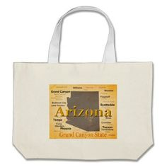 Aged Arizona State Pride Map Canvas Bags