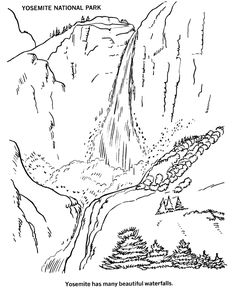 USA-Printables: Yosemite - Yosemite Falls coloring page - US National Parks, Yosemite National Park