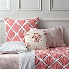 I LOVE this pink quilt.  I could probably get away with 1 pink aspect to the room.  :)  (JASON APPROVED) Punch Diamond Quilt | Serena & Lily