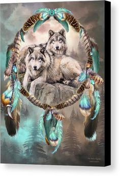 Dream Catcher - Two Wolves Together fine art canvas print featuring the art of Carol Cavalaris.