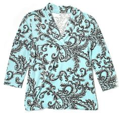 15✂Talbots Paisley Light Blue BlouseHP PRICE IS FIRM!! (Seeon TITLE) This is the lowest I can do!! Trying to DOWNSIZE Make me an offer, it's YOURS! ➖➖➖➖➖➖➖➖➖➖➖➖➖  ⏩Made of a superior 97% cotton, this blouse is so soft & comfortable ⏩With 3% spandex, it provides enough stretch to form a beautiful, body-grazing silhouette ⏩A versatile blouse that goes from office, to evening, to weekend with ease ⏩3/4 sleeves, V-neck, stretch ⏩In great condition, only worn 2 times Talbots Tops Blouses