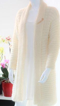 Ivory crochet cardigan Crochet cardigan Mohair crochet | Etsy Mohair Yarn, Mohair Sweater, Sweater Coats, Knit Shrug, Crochet Cardigan, Knitted Shawls, Crochet Cross, Cute Crochet, Mulberry Silk