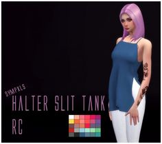 Simsworkshop: Halter Slit Tank by Sympxls • Sims 4 Downloads