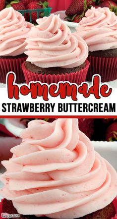 Homemade Strawberry Buttercream - - Teaming with fresh strawberries, this yummy homemade The Best Strawberry Buttercream Frosting tastes amazing and is so easy to make. Cupcake Recipes, Baking Recipes, Cupcake Cakes, Dessert Recipes, Köstliche Desserts, Delicious Desserts, Food Deserts, Delicious Chocolate, Strawberry Buttercream Frosting