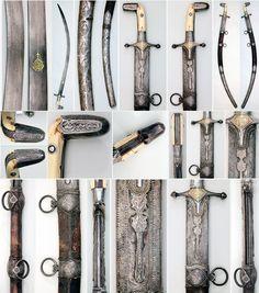 Saudi Arabian saif, wootz/damascus steel Persian blade, bone hilt with Saudi silver mounts.