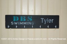 Custom Personalized Medal & Ribbon Hanger Display -  Available at www.PeaceLoveSwim.com