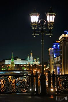 Lights of Patriarchy Bridge at Night, Moscow, Russia