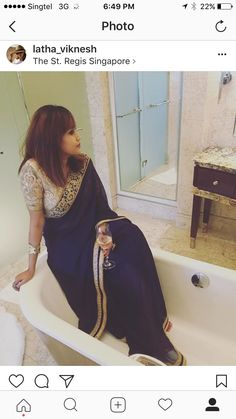 ca45b93b744a54 Sarees blue saree gold blouse style Indian fashion bathtub