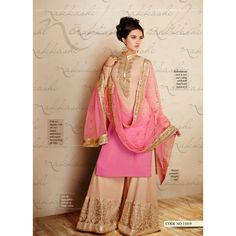 Vikram Phadnis designed pink shaded straight cut suit with palazzo embroidered bottom