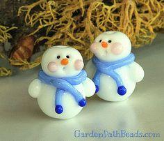 Lampwork Snowman Bead by gardenpathbeads on Etsy