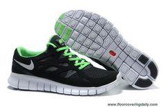 Discounts Black White Green 443815-005 Mens Nike Free Run 2