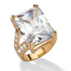 Palm Beach Jewelry PalmBeach 27.10 TCW Emerald-Cut Cubic Zirconia 14k Gold-Plated Ring Glam CZ