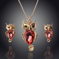 14k Yellow Gold Filled Peach pink Sapphire Owl Necklace Earrings Set GP3786
