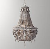 RH Baby & Child's Anselme Large Chandelier - Silver Grey:Anselme's graceful, tapered swag and circular silhouette showcase the hallmarks of classic Empire style. Wood beading and teardrops lend a welcoming sense of warmth and texture.