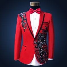 Cheap clothing supplier, Buy Quality suit blue directly from China clothing men Suppliers: Men Slim Red Wedding Suits Set Passionate Male Singer Host Evening Party Clothing Stage Wear Embroidered Paillette Flower Suits Costume Rose, Costume Slim, Cheap Suits, Cool Suits, Costumes Faciles, Costume Halloween, Types Of Suits, Suit Measurements, Sequin Formal Dress