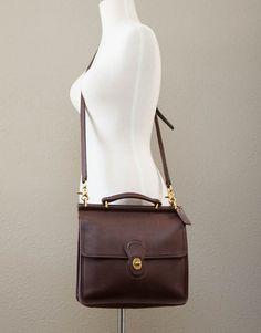 b1a4671848d4 RESERVED Vintage Coach Dark Brown Willis Leather Messenger Briefcase Work  Satchel Bag Purse Crossbody