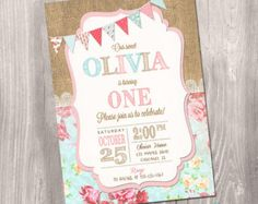 Burlap Shabby Chic Birthday Invitation por PartyInvitesAndMore