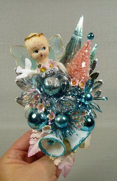 aqua vintage Christmas corsage