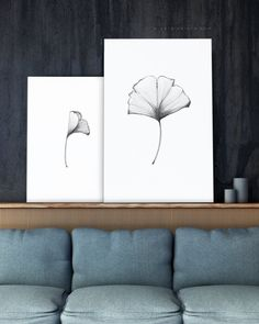 Excited to share the latest addition to ou etsy shop: biloba art print set of 2 pencil drawing ginko wall decor. Black and white simple wall Green Wall Art, Pink Wall Art, Black And White Wall Art, Floral Wall Art, Botanical Wall Art, Botanical Drawings, Botanical Prints, Botanical Illustration, Leaf Drawing