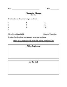 Character Change Day 1 (Part of Unit) Do Now and Class Activity