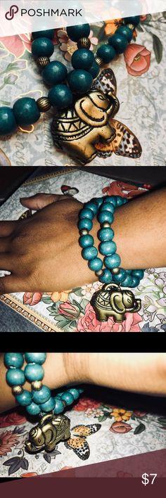 Teal Bead Bracelet Medium sized teal beads, gold embellishments, gold elephant charm Jewelry Bracelets