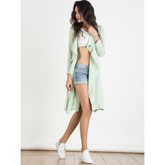 Dark Sea Green Waterfall Front Tailored Back Trench Coat ($44) ❤ liked on Polyvore featuring outerwear, coats, tailored coat, waterfall coat, white coat, waterfall trench coat and white trench coat