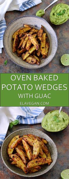 Oven baked potato wedges recipe with guacamole. These wedges are super crispy from the outside and soft from the inside. They are vegan, gluten free, paleo friendly and low in fat. Enjoy them with a guacamole dip!