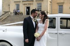Bride and groom laughing in front of the wedding car. Kent Wedding Photographer, Wedding Photography, Wedding Car, Wedding Dresses, South East England, Wedding Images, Laughing, Groom, Weddings