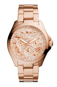 Love this sparkly rose gold piece of arm candy | Fossil pavé dial bracelet watch.