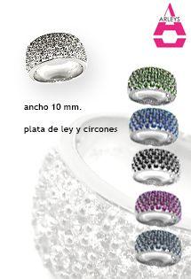 Sortijas de plata de lujo con circonitas en varios colores de Arleys Jewelry. Anillos de plata para mujer y señora cuajados de circonitas.