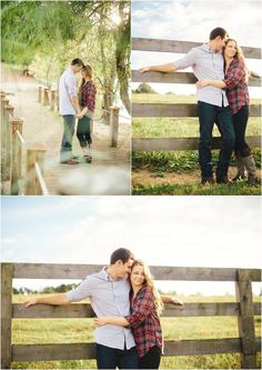 Fall farm engagement photos in Knoxville TN. Love her cute plaid top and leggings - great engagement outfit idea! Click to view more!