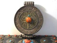 Antique Tibetan Round Coral and Turquoise Gau Amulet Box ...