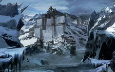 Fortress In The Snowy Mountains Wallpaper