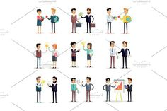 Set of Business Concepts Vector in Flat Design.. Business Infographic