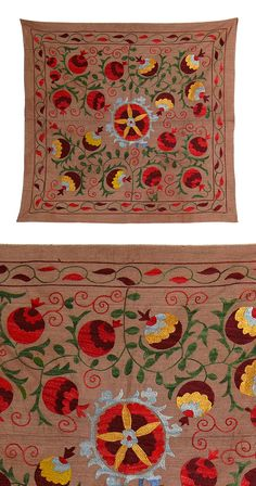 Accent a console or cocktail table with the stunning hand-crafted elegance of this authentic Vintage Hand-Embroidered Table Cover. This stunning piece features flowers and vines in vibrant hues, bringi...  Find the Vintage Hand-Embroidered Table Cover, as seen in the An Artist's Hacienda Collection at http://dotandbo.com/collections/an-artists-hacienda?utm_source=pinterest&utm_medium=organic&db_sku=115393