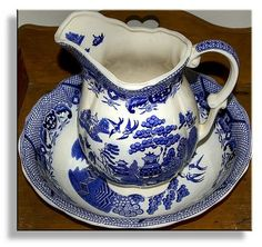 antique pitcher & bowl. Corrie I hope I'm not pinning this for nothing lol, I hope you really like this blue antique stuff.