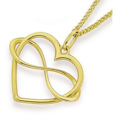 9ct Gold Infinity Love Heart Pendant
