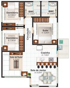 plano-de-casa-de-un-piso-con-tres-dormitorios- 70m2