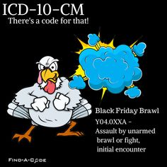 ICD-10-CM  Black Friday shopping can be dangerous especially when there are two shoppers and only one great bargain up for grabs. Black Friday Brawl. There's a code for that!