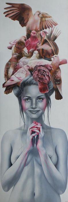 'Paint it pink'    original, Oil painting, woman, girl, nude, birds, doves, symbolism, canvas, Art
