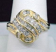 Gold Diamond Ring Womens .50 ct Round and Baguette Prong and Channel 10K Gold