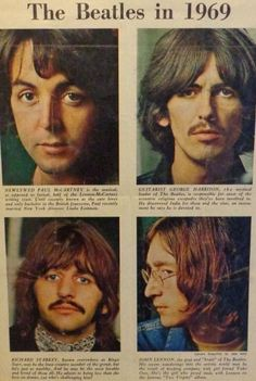 Clipping of the Beatles in 1969 with alternate White album photos Foto Beatles, Beatles One, Beatles Photos, Hello Beatles, Great Bands, Cool Bands, The Quarrymen, The White Album, The Fab Four