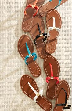 Tory Burch 'Leighanne' Thong Sandal from Nordstrom. Saved to Epic Wishlist. Cute Shoes, Cute Sandals, Me Too Shoes, Shoes Sandals, Heels, Tory Burch, Summer Shoes, Summer Sandals, Flip Flop Sandals