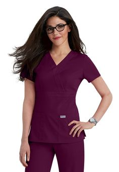 Greys Anatomy 3-pocket mock-wrap scrub top   Scrubs and Beyond #nurses #uniform