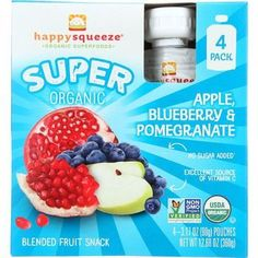 Happy Squeeze Fruit Snack Organic Blended Super Apple Blueberry and Pomegranate 4/3.17 oz case of 4