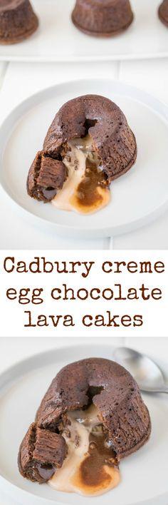 Cadbury creme egg chocolate lava cakes are a chocolate lovers dream. Rich chocolate cake with a molten center of a cadbury cream egg. Your Easter dessert just took a left turn.