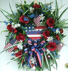4TH of July wreath, Custom Order ,  many styles, Patriotic wreath, Floral wreath, Labor Day wreath, military, USA